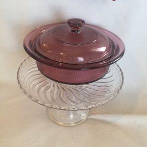 Vintage Visions cranberry translucent casserole